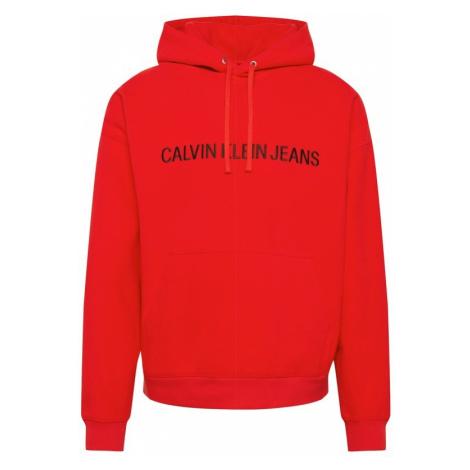 Calvin Klein Jeans Bluzka sportowa 'INSTITUTIONAL LOGO FLEECE HOODIE' niebieski / czerwony