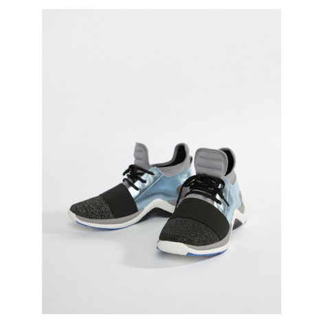 Kurt Geiger Linford pale blue mix with metallic trainers