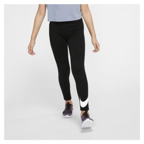 Legginsy dla dużych dzieci (dziewcząt)Nike Sportswear Swoosh - Czerń