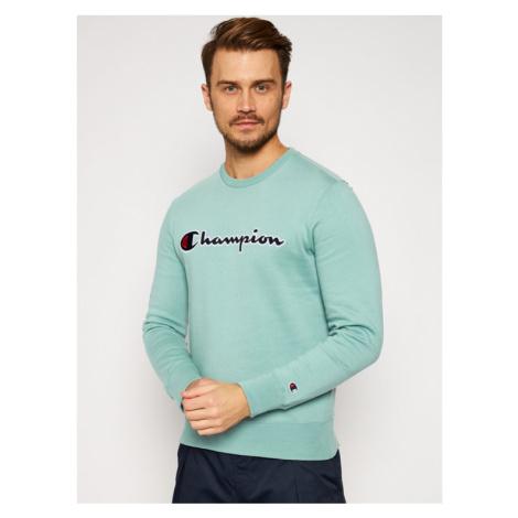 Champion Bluza Script Logo Fleece 214720 Zielony Comfort Fit