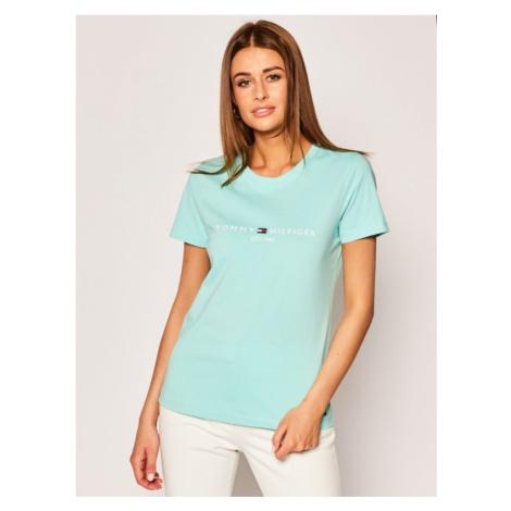 TOMMY HILFIGER T-Shirt New The Ess Hilfiger WW0WW26868 Zielony Regular Fit