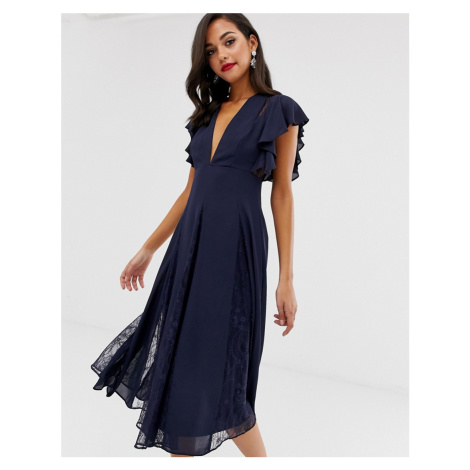 ASOS DESIGN midi dress with lace godet panels