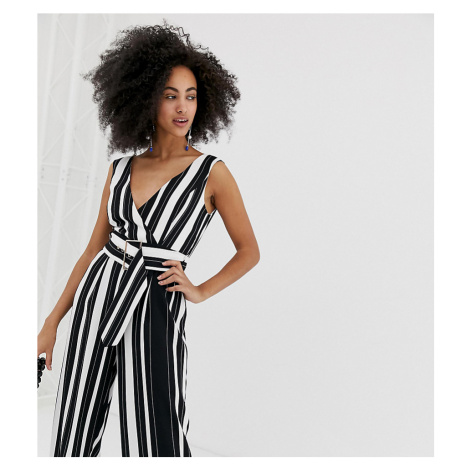 River Island jumpsuit with belt in stripe