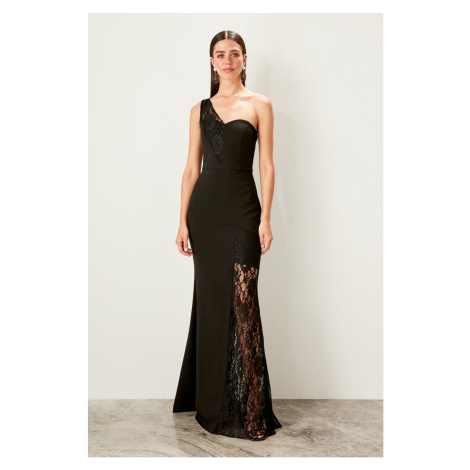 Trendyol Black lace detailed evening dress