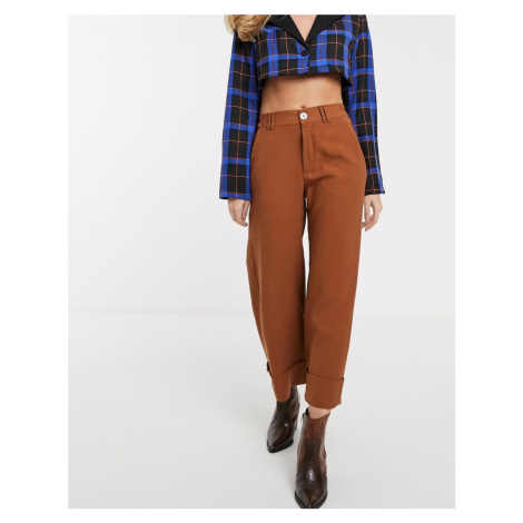 Bershka turn up hem culotte in brown