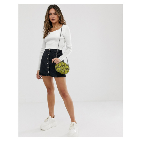 Boohoo ribbed jumper with square neck in white
