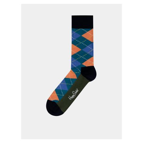 Niebieskie męskie skarpety w kratę Happy Socks Argyle