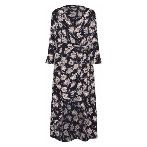 Boohoo Letnia sukienka 'Floral Wrap Maxi Dress' czarny / biały