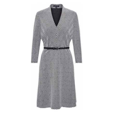 COMMA Sukienka z dzianiny biały / czarny