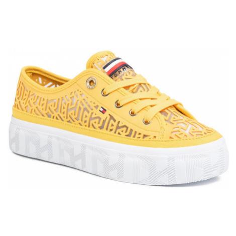 TOMMY HILFIGER Sneakersy Monogram Flatform Sneaker FW0FW04698 Żółty