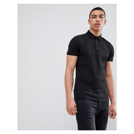River Island Muscle Fit Rib Polo In Black