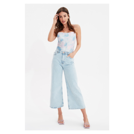 Trendyol Jasnoniebieskie dżinsy Culotte z wysokim stanem