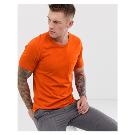 Selected Homme boxy fit chest pocket t-shirt in organic cotton