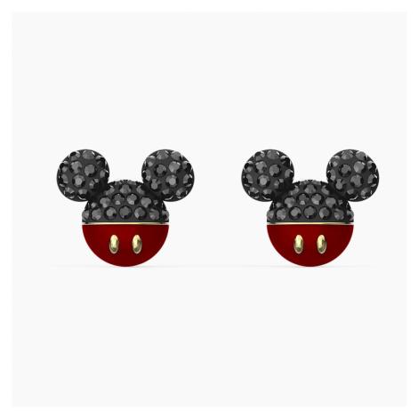 Kolczyki sztyftowe Mickey, czarne, powłoka w odcieniu złota Swarovski
