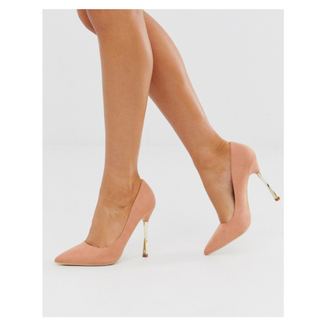 Glamorous taupe court shoes with gold statement heel