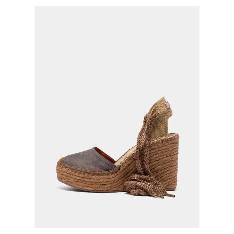 Brązowe damskie sandały na koturnie Replay