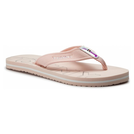 Japonki TOMMY HILFIGER - Iridescent Detail Beach Sandal FW0FW04236 Silver Peony 658