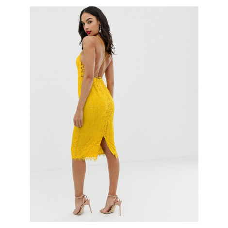 ASOS DESIGN square neck midi pencil dress in lace
