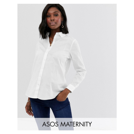 ASOS DESIGN Maternity long sleeve shirt in stretch cotton
