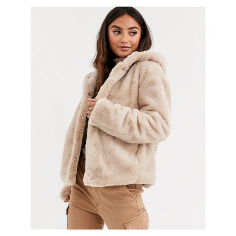Pimkie faux fur hooded jacket in beige