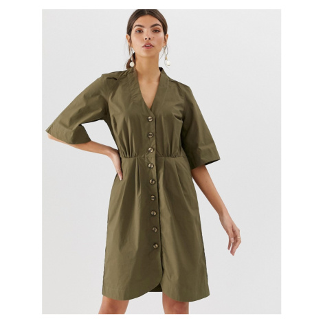 Y.A.S cotton button through mini dress