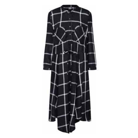 GAP Sukienka koszulowa 'LS TIE SHRTDRS PLAID' czarny / biały