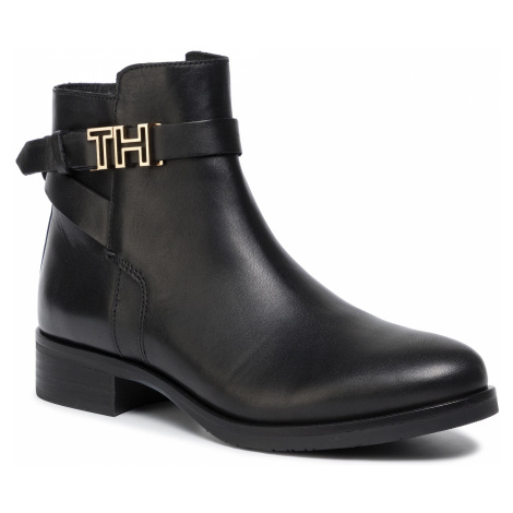 Botki TOMMY HILFIGER - Th Hardware Leather Flat Bootie FW0FW04280 Black 990