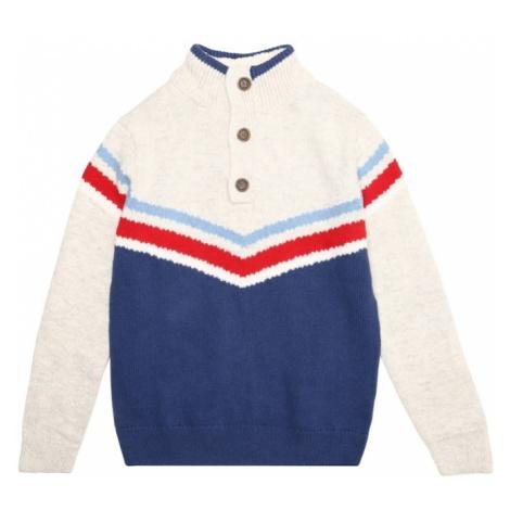 GAP Sweter 'NVLTY BTTN MOCK' kremowy / niebieski / czerwony