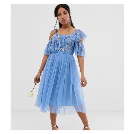 Maya Petite cami strap sequin top tulle detail midi dress with ruffle skirt in bluebell