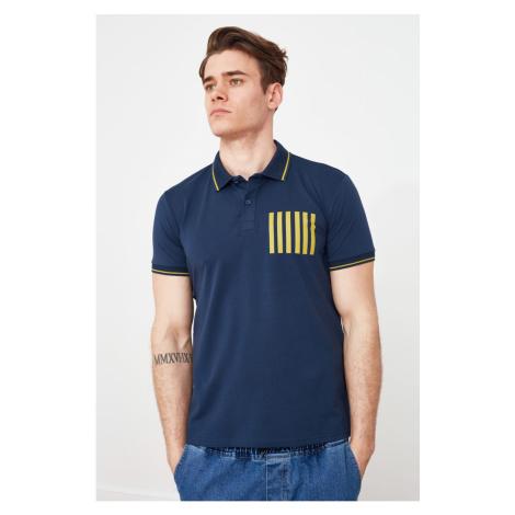 Modsyol Navy Blue Men Slim Fit T-shirt polo z krótkim rękawem z nadrukiem Trendyol