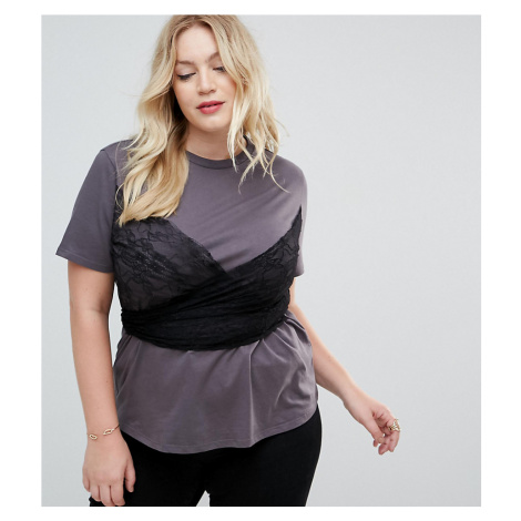 ASOS CURVE T-Shirt with Lace Wrap