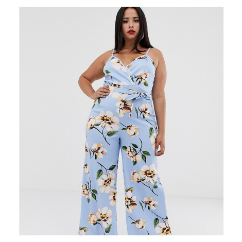 Boohoo Plus exclusive cami jumpsuit with belted waist in blue floral