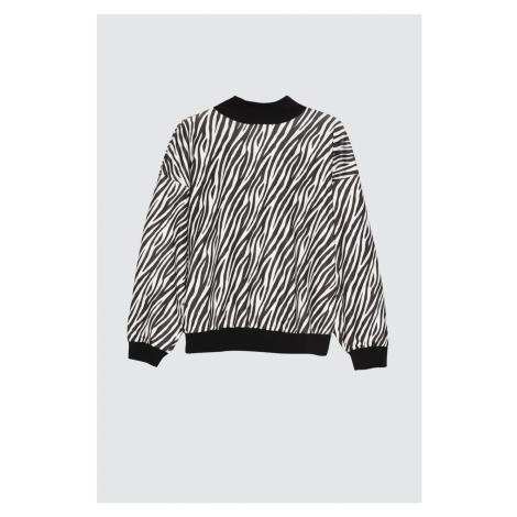 Trendyol Black Zebra Pattern Loose Mold Upright Collar Knitted Sweatshirt