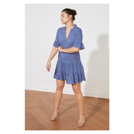 Trendyol Granatowa niebieska sukienka z wzorzyste wzorzyste koło zamachowe