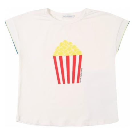 Calvin Klein Jeans Koszulka 'Flowy Fun Print Tee' czerwony / biały