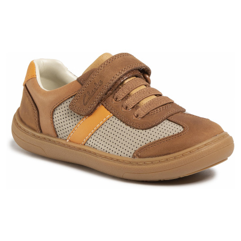 Sneakersy CLARKS - Flash Step K 261495897 Tan Combi Leather