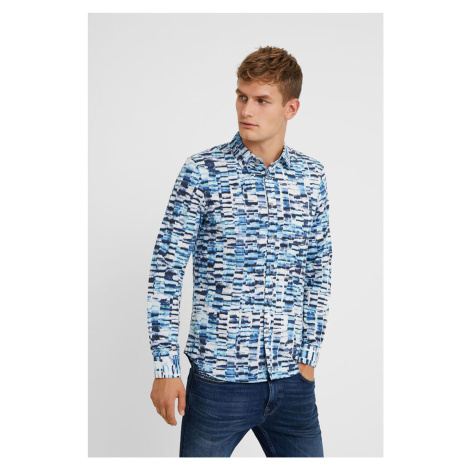 Desigual niebiesko-biała koszula męska Cam Adel