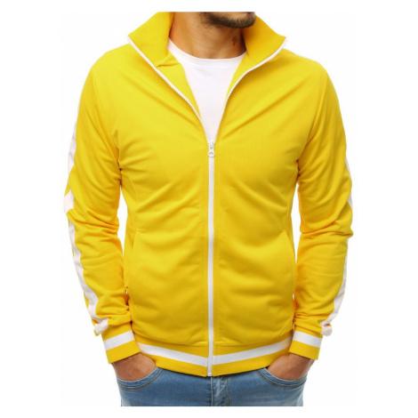 Žlutá pánská mikina na zip bez kapuce BX3917 DStreet