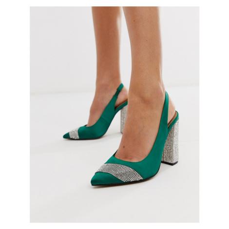 ASOS DESIGN Presence embellished block heeled high shoes in green satin