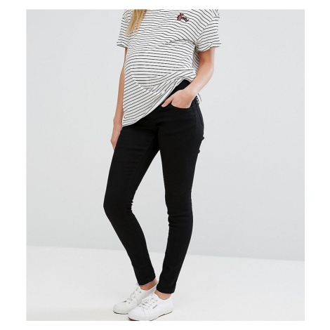 ASOS DESIGN Maternity Ridley high waisted skinny jeans in clean black with under the bump waistb