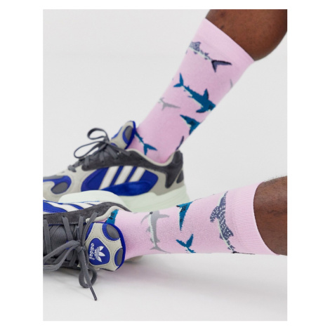 ASOS DESIGN all over print shark ankle sock in pink