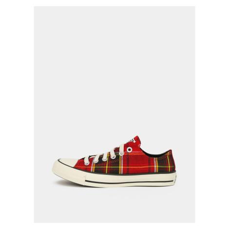 Czerwone trampki damskie w kratę Converse