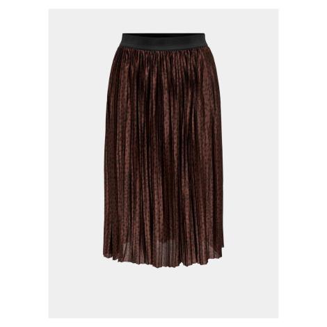 Jacqueline de Yong brązowa plisowana spódnica wzorzysta