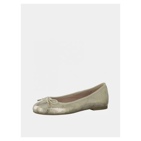 Tamaris złote balerinki