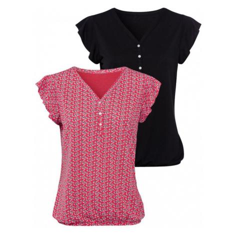 LASCANA Koszulka czarny / ciemnoróżowy