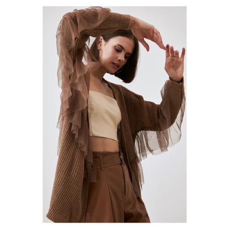 Trendyol Camel Tulle Knitwear Cardigan