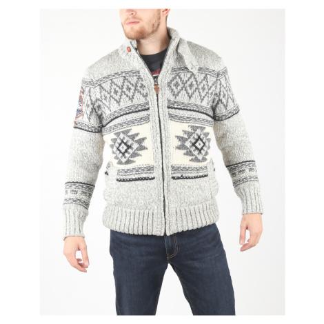 SuperDry Sweter Biały Szary