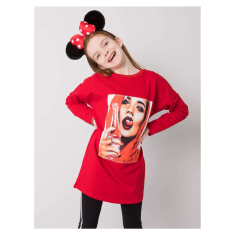 Red cotton tunic for a girl