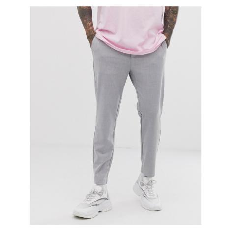 Bershka skinny cropped trousers in grey