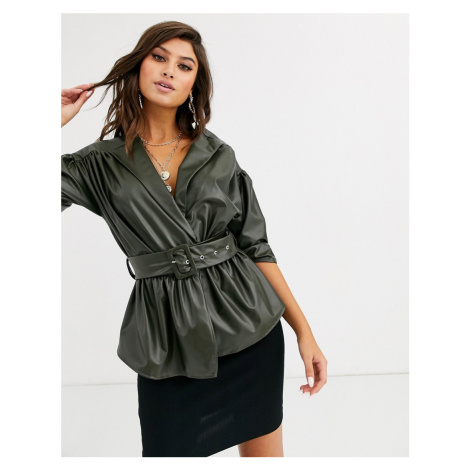 PrettyLittleThing leather look blouse with puff sleeves and belted waist in dark green